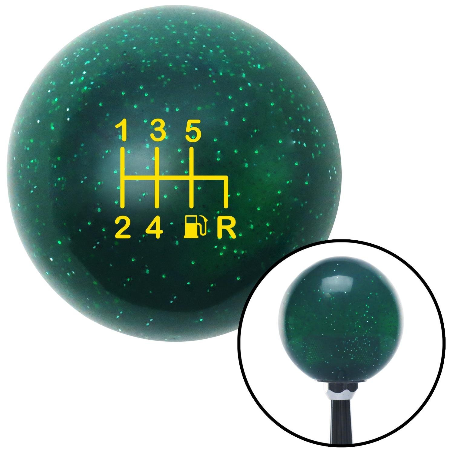 American Shifter 284085 Shift Knob Yellow 6 Speed Shift Pattern - Gas 41 Green Metal Flake with M16 x 1.5 Insert