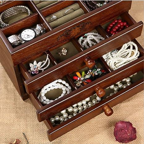 YAMEIJIA Caja Joyero De Madera,Caja Joyero Organizador para Bisuterías Joyería con Cajones,Caja