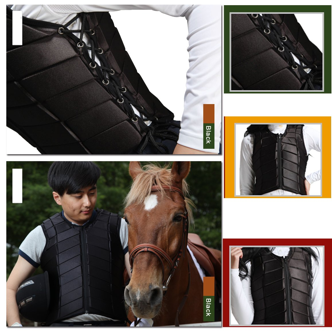 GFDHHNN Horse Riding Equestrian Body Protector Safety Eventer Vest Protection Protective (Black, L) by GFDHHNN (Image #6)
