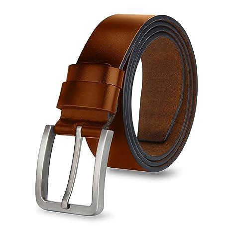 MPTECK   Marron clair Ceinture homme avec boucle d ardillon 120CM ceinture  en cuir ceinture a54760a9f8e