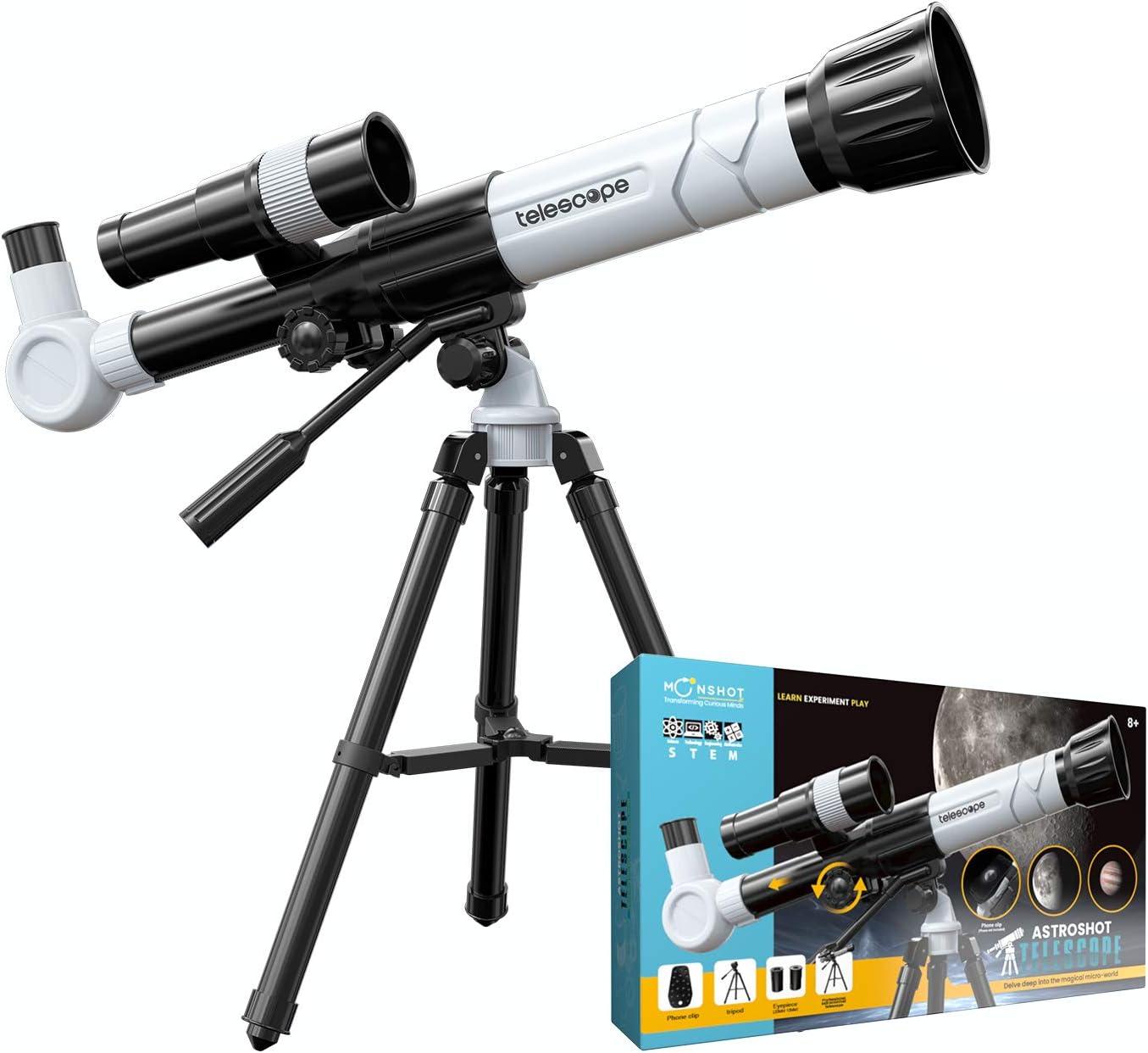 Moonshotjr Astroshot Kids Telescope - Educational Astronomy Toy Telescope, 20X 30X 40X Magnification, Finderscope, Tripod, Objective Lens, Mobile Holder   Beginners Travel Space Telescope (Off White)