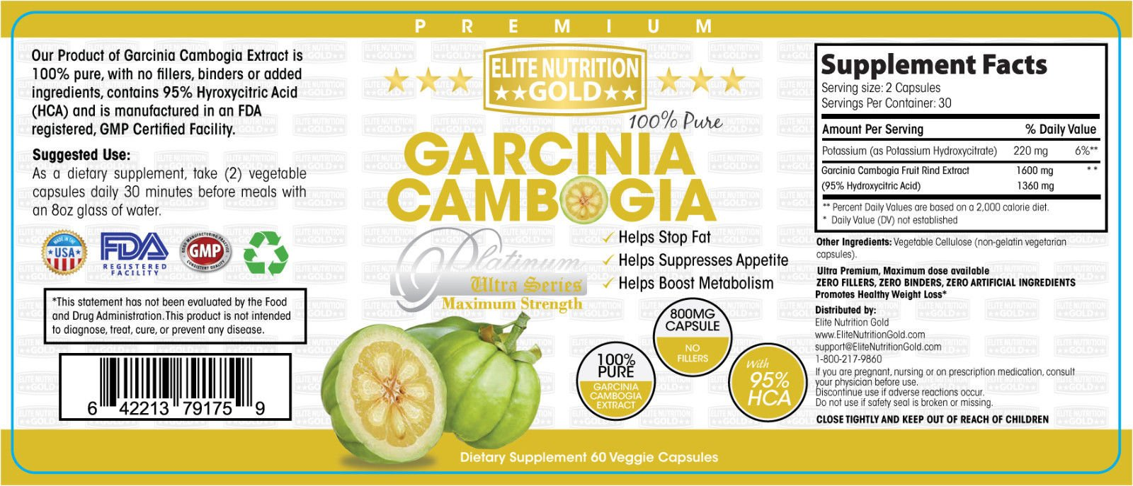 Garcinia Cambogia 100% Pure 1600mg 95% HCA Ultra Livewell USA by Elite Nutrition Gold