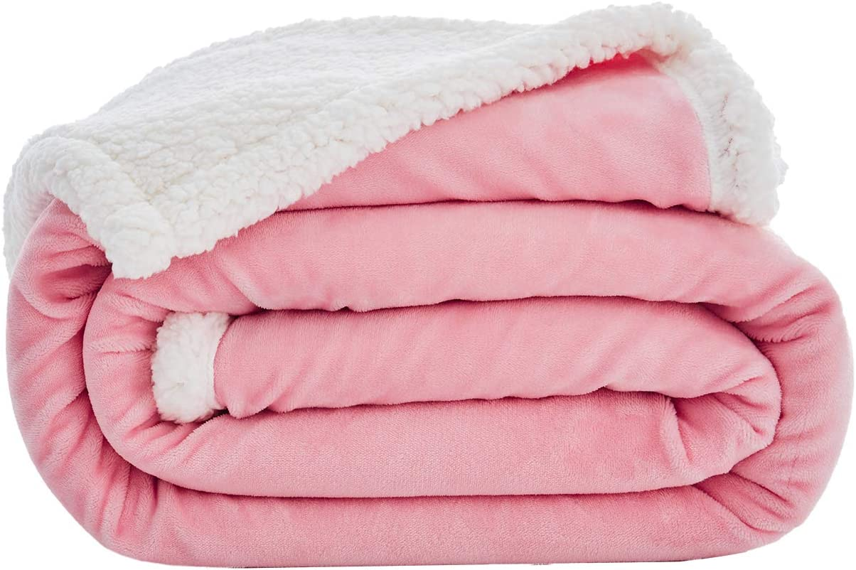 Love's cabin Sherpa Fleece Blanket Twin Size (Pink, 60x80 Inches) Fuzzy Plush Throw Blanket for Couch or Sofa   Reversible Warm Cozy Soft Blankets for Adults and Kids