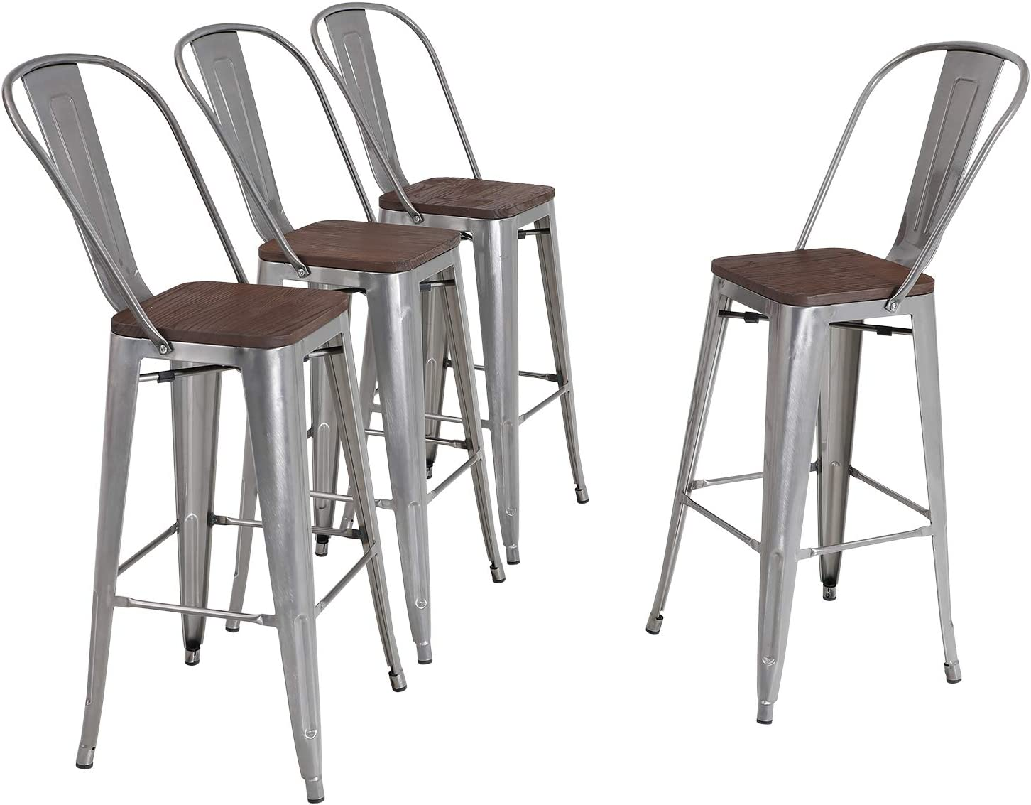 ALPHA HOME 30'' High Back Bar Stools with Wood Seat,Vintage Metal Dining Chairs Stackable Industrial Counter Stool Cafe Side Chairs, Glossy Steel