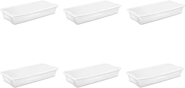 Sterilite 19608006 41 Quart/39 Liter Underbed Storage Box, Clear with White Lid, 6-Pack