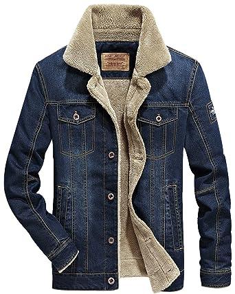 1291dc2234c2 TRENDY XU Men s Slim Fit Denim Jacket Fleece Faux Fur Lined Jean Coat For  Winter (