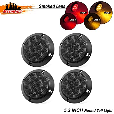 Meerkatt (Pack of 4) 4 Inch Round Smoked Lens 2 Amber & 2 Red Sealed Clearance Lamp F3 Piranha Bulb 12 LED Tail Brake Turn Light ATV Truck Camper Trailer Lorry Caravan Cab Car RV 12V DC Universal GK12: Automotive