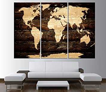 Amazon vintage world map canvas art print large wall art vintage world map canvas art print large wall art rustic world map wall art gumiabroncs Choice Image