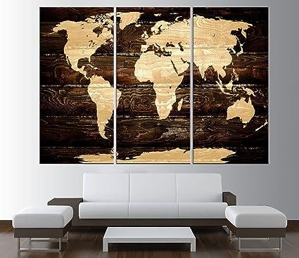 vintage world map canvas art print, Large wall Art, rustic World