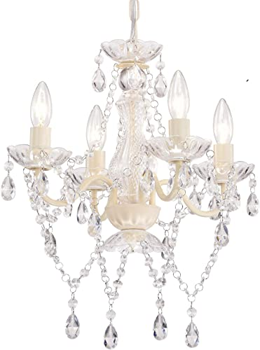 Mini Crystal Chandeliers Acrylic White Chandelier Lighting 4 Light Modern Hanging Light Fixture