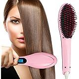 Hk Villa Women's Electric Comb Brush Nano 3 in 1 Straightening LCD Screen with Temperature Control Display hair straightener for women, Hair Straightener Brush
