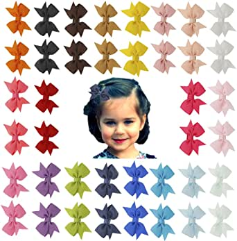 Angla 40PCS Pigtail Bow Hair Clips Fully Lined Grosgrain Ribbon for Baby Girl Toddler Kids