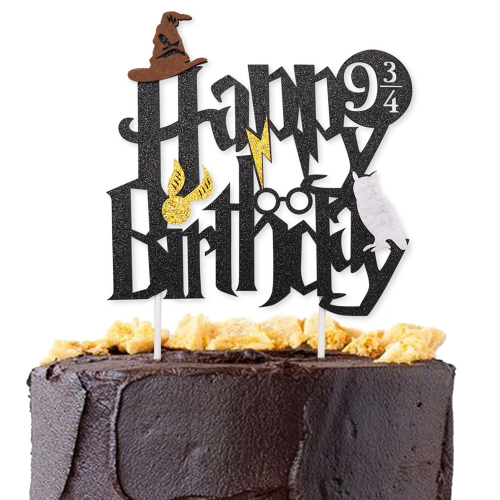 Double Sided Glitter Black Harry Potter Inspired Happy Birthday Cake Topper Wizard Party Supplies by Levfla (Image #1)