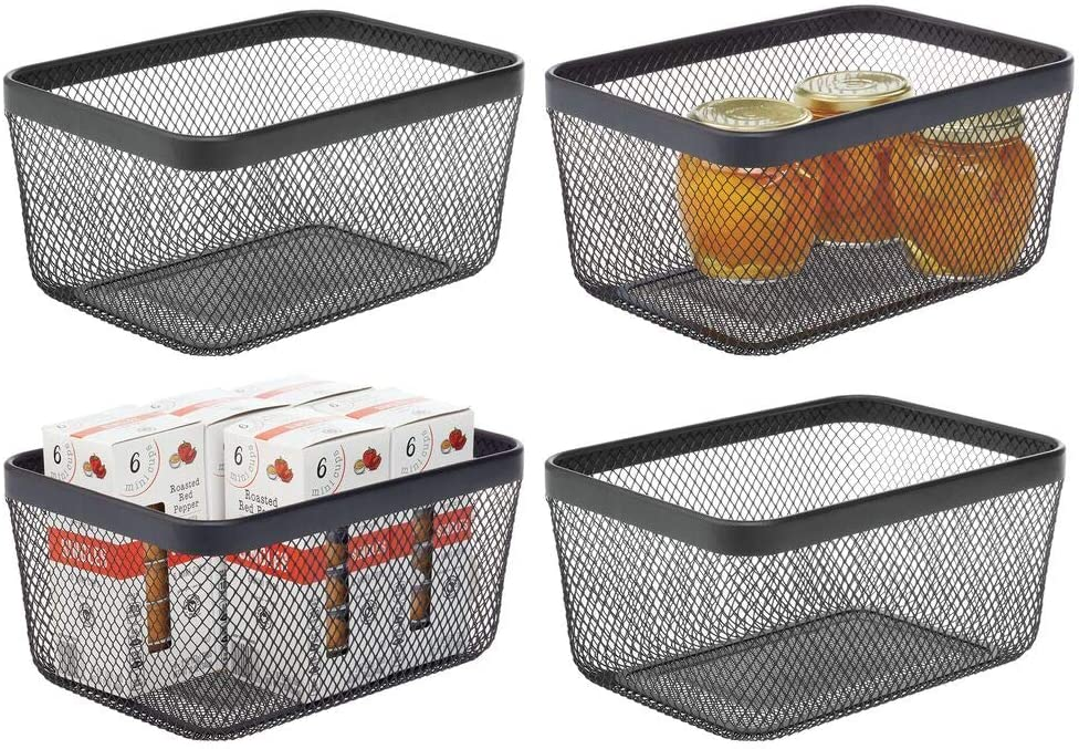 mDesign Farmhouse Decor Metal Wire Food Organizer Storage Bin Basket for Kitchen Cabinets, Pantry, Bathroom, Laundry Room, Closets, Garage, 4 Pack - Black