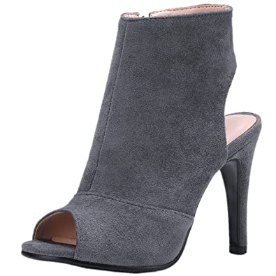 Rongzhi Womens Heeled Sandals Ankle Strap Platform Stilettos Dress Party Suede Heel Shoes Open Toe Pumps