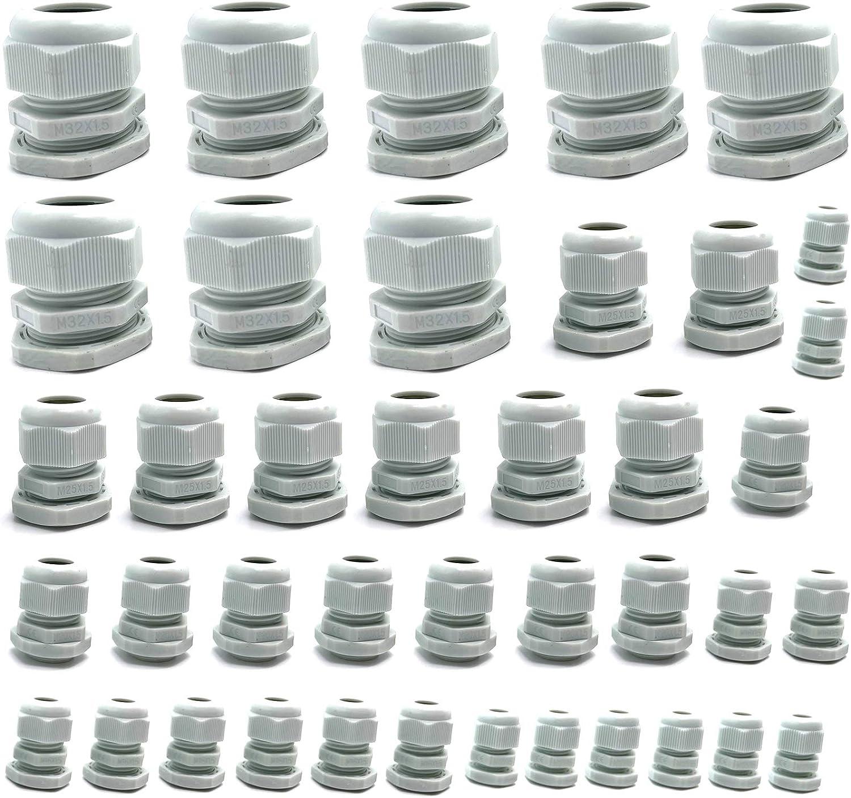 LEZED Lot de 40 presse-/étoupes en plastique /étanche avec rondelles M12 M16 M20 M25 M32 IP68