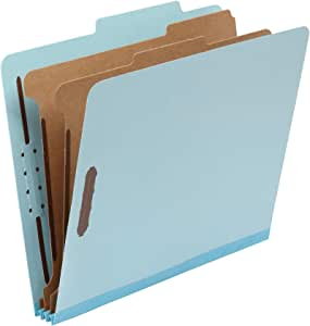 "AmazonBasics Classification Folder- 100% Recycled, 2 Dividers, 2"" Embedded, Letter, Light Blue, 10 per Box"