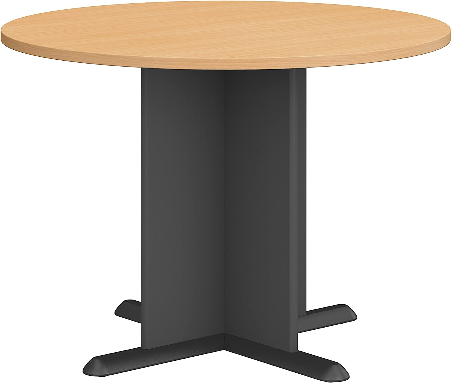 Bush Business Furniture Series A & C 42 Inch Round Conference Table in Beech