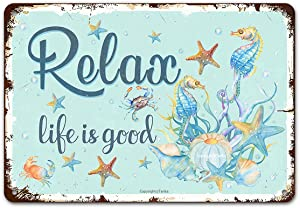 Relax Life is Good Vintage Tin Signs Wall Decor, Ocean Illustration Style Retro Metal Sign for Outdoor Indoor Home Beach Garden Tub Bar Farmhouses Cafes Gate Fence Art Wall 8X12 Inch