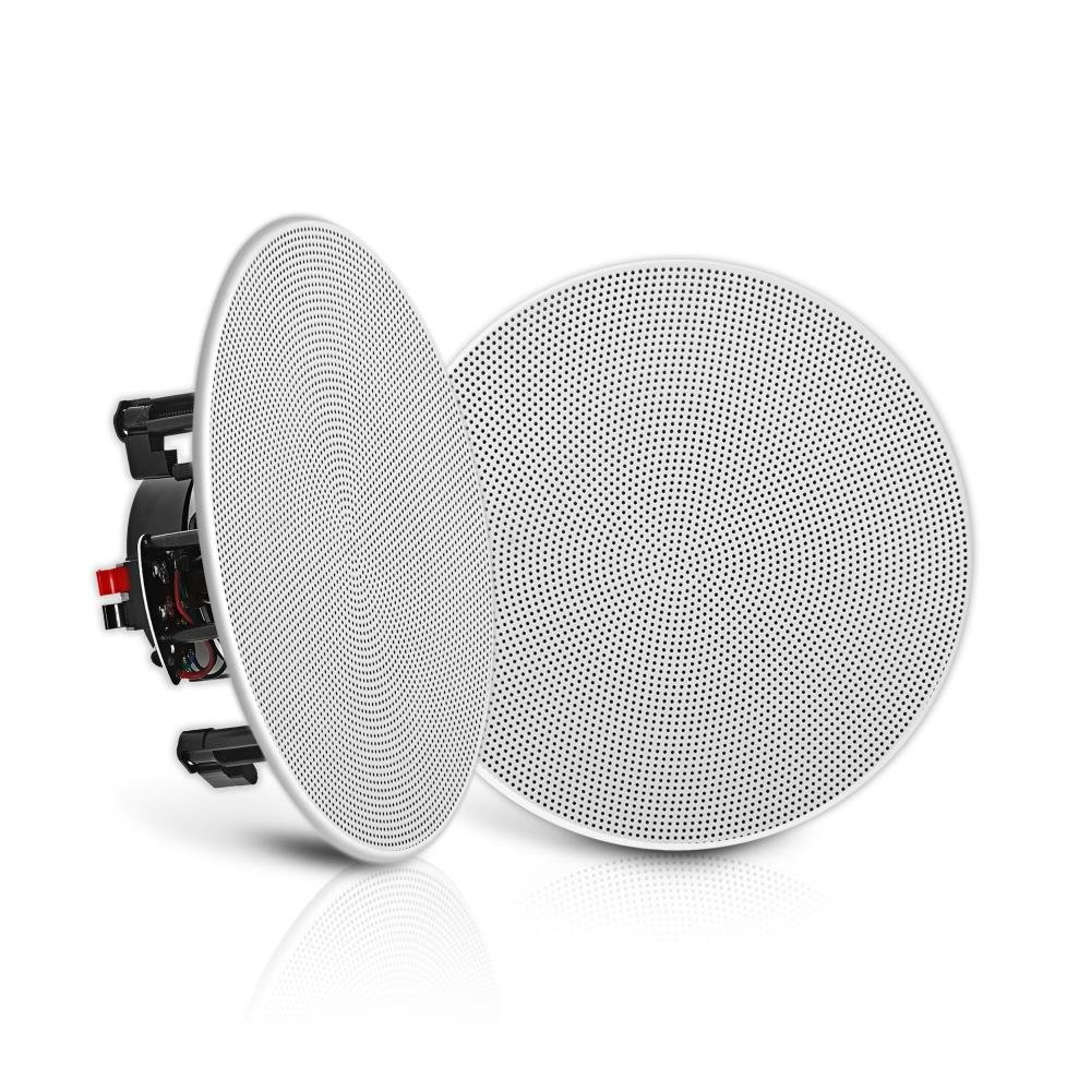 "Pyle Pair 8"" Flush Mount In-wall In-ceiling 2-Way Speaker System Spring Loaded Quick Connections Changeable Round/Square Grill Stereo Sound Polypropylene Cone Polymer Tweeter 250 Watt (PDIC1686) by Pyle"