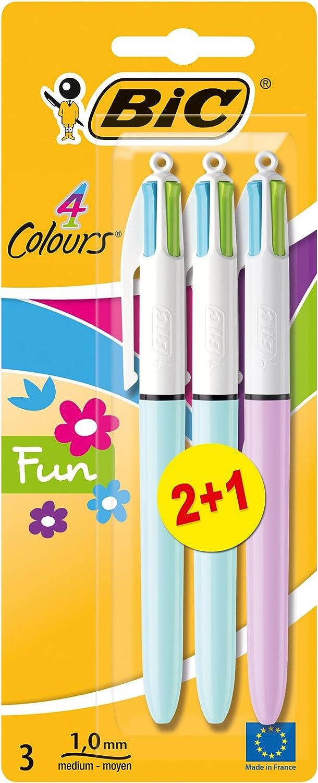BiC - Bolígrafo de 4 colores (3 unidades)