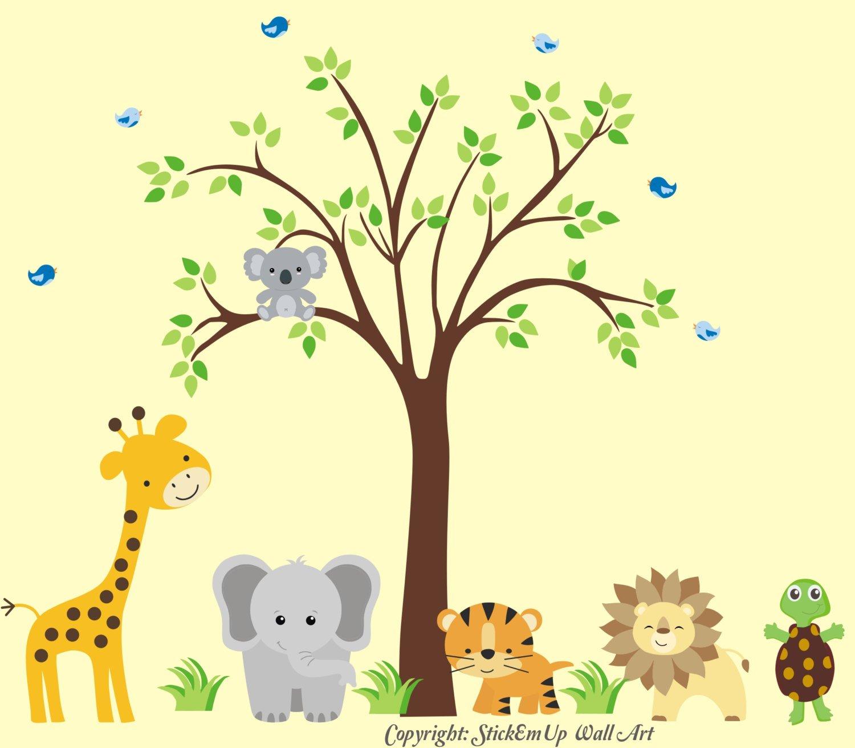 Amazon.com: Safari Animal Nusery Decals - Jungle Animal Themed ...