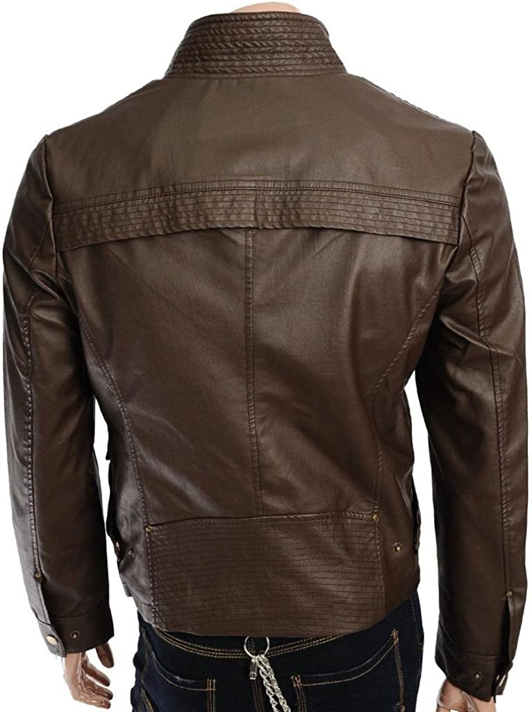 brandMe Mens Genuine Leather Pure Lambskin Biker Jacket MM053