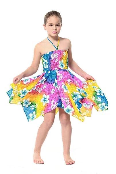 Niña gitano Botón desigual Hawaiian Luau vestido en Arco iris floral 12