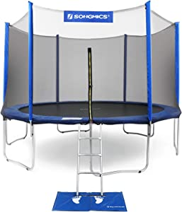 SONGMICS 12,15 Feet Trampoline with Enclosure Net, Safety Pad, Ladder, Jumping Mat Outdoor Backyard Trampolines for Kids TÜV Certificated