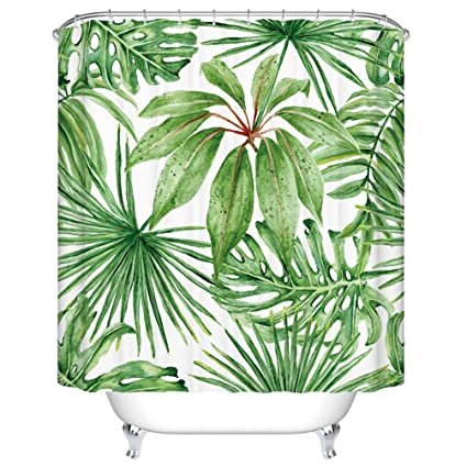 Goodbath Extra Long Shower Curtain Tropical Palm Banana Leaves Fabric Bath Curtains 72 X