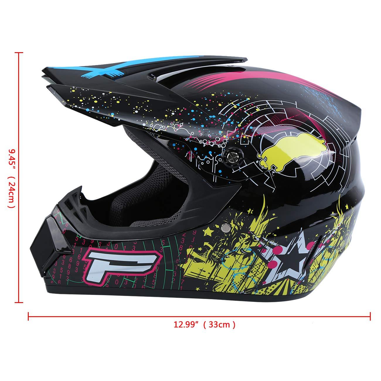 Jaune, M Samger Dot Adulte Casque Hors Route Casque Motocross Dirt Bike ATV Casque Moto Gants Lunettes