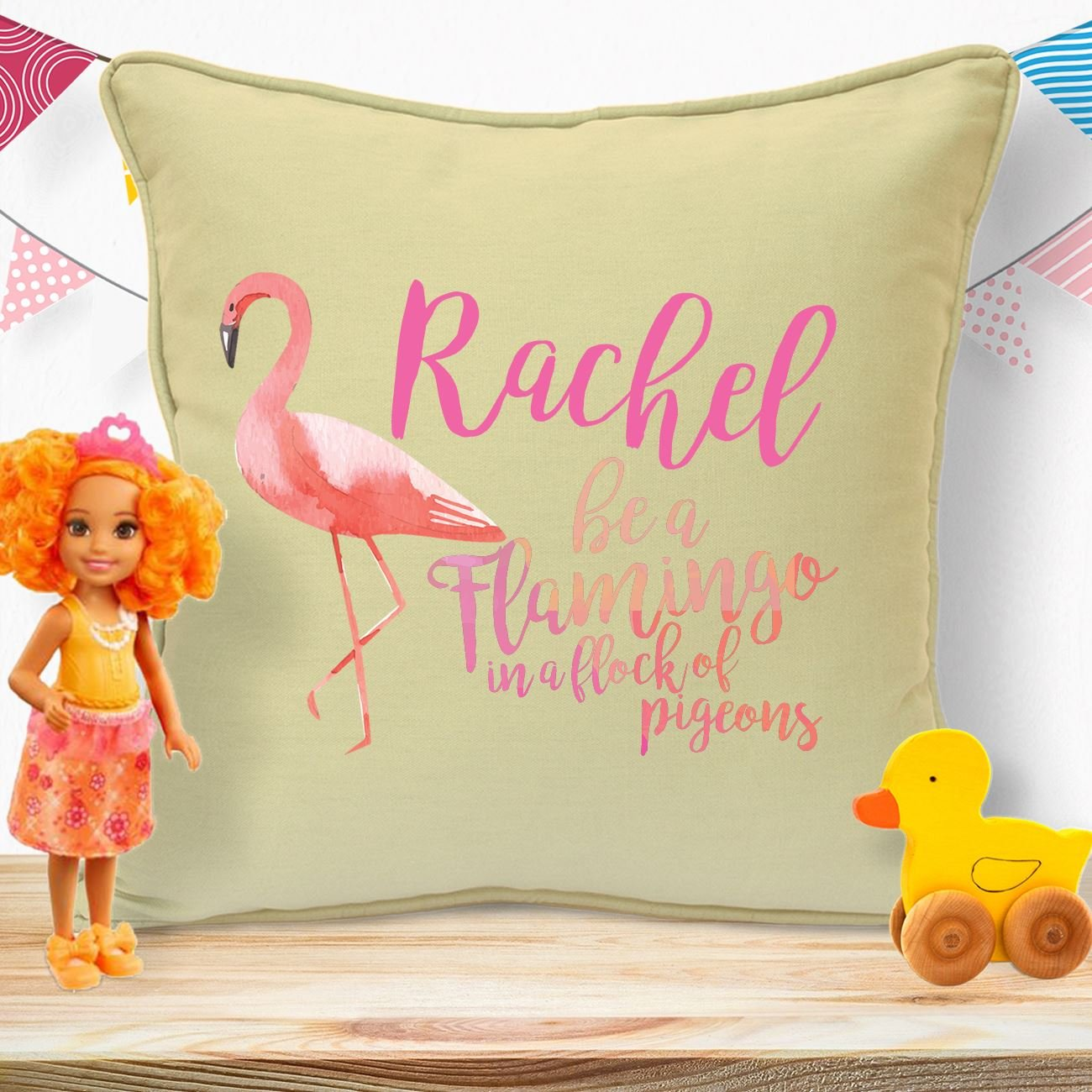 Personalised Gifts For Baby Girls Boys Kids Children Newborn Teens Birthday Christmas Xmas Christening From Auntie Grandma Big Sister To Niece Nephew Granddaughter Grandson Be A Flamingo Cushion