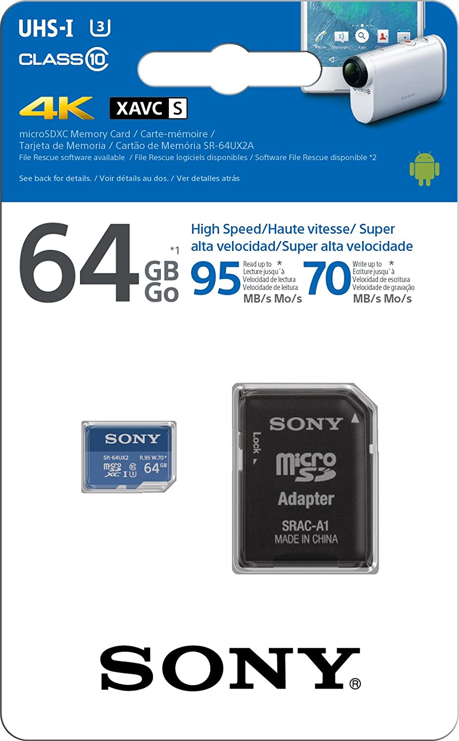 Sony SR-32UX2A/LT High Speed 32GB Class 10 U3 Micro SDHC UHS-I Memory Card up tp 95MB/s with Adapter
