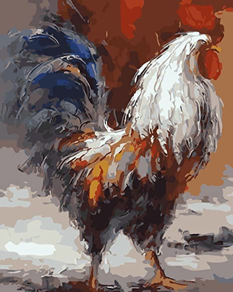 Wowdecor Paint by Numbers Kits for Adults Kids Framed Number Painting Rooster 16x20 inch