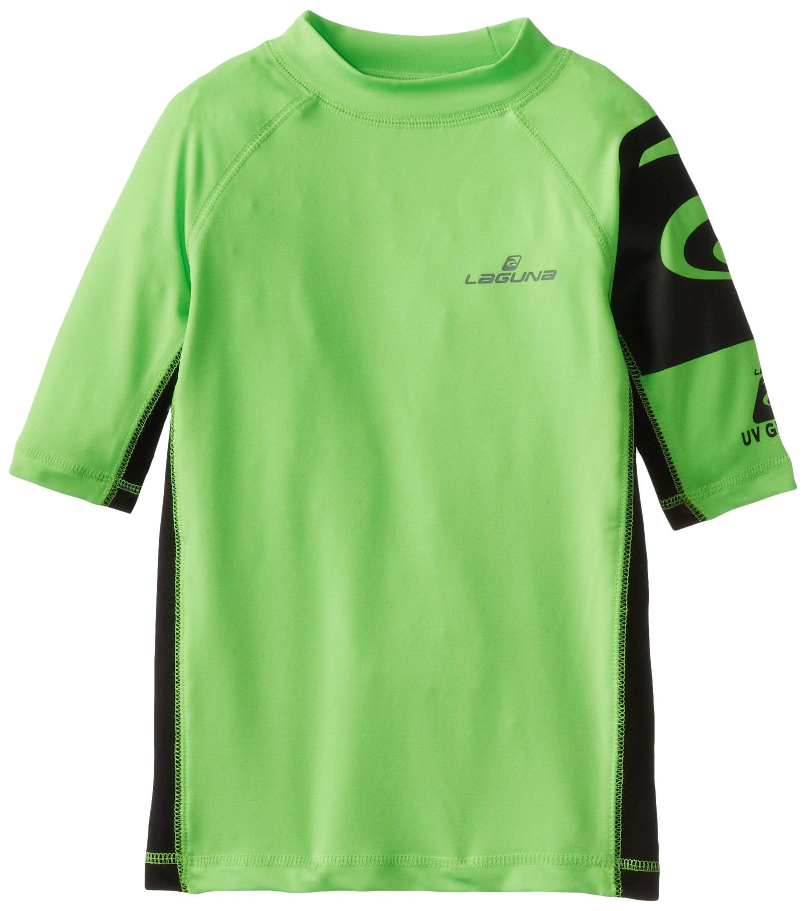 18//20 LAGUNA Boys Crewneck Short Sleeve Loose Fit Rashguard Swim Sun Tee Shirt Navy Blue//Blue UPF 50+