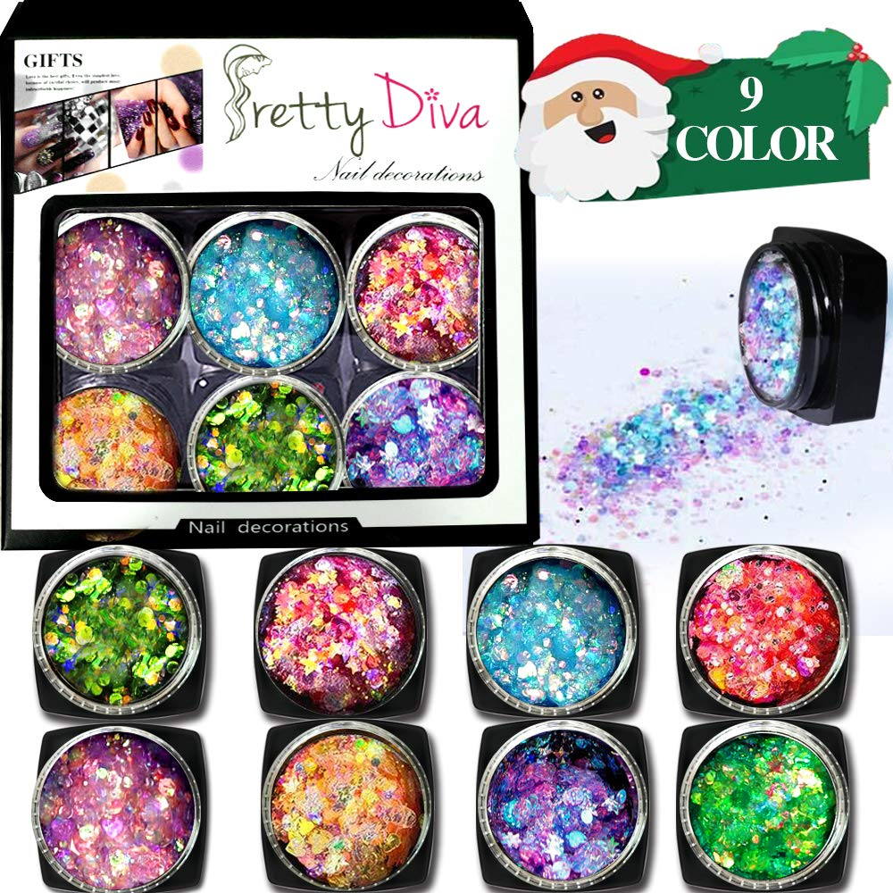 Holographic Chunky Glitter Gel Set - 9 Colors Cosmetic Festival Chunky Glitter for Body, Face, Hair, Nail, Crafts, Eyes, No need Glue for Thanksgiving Christmas Party Makeup