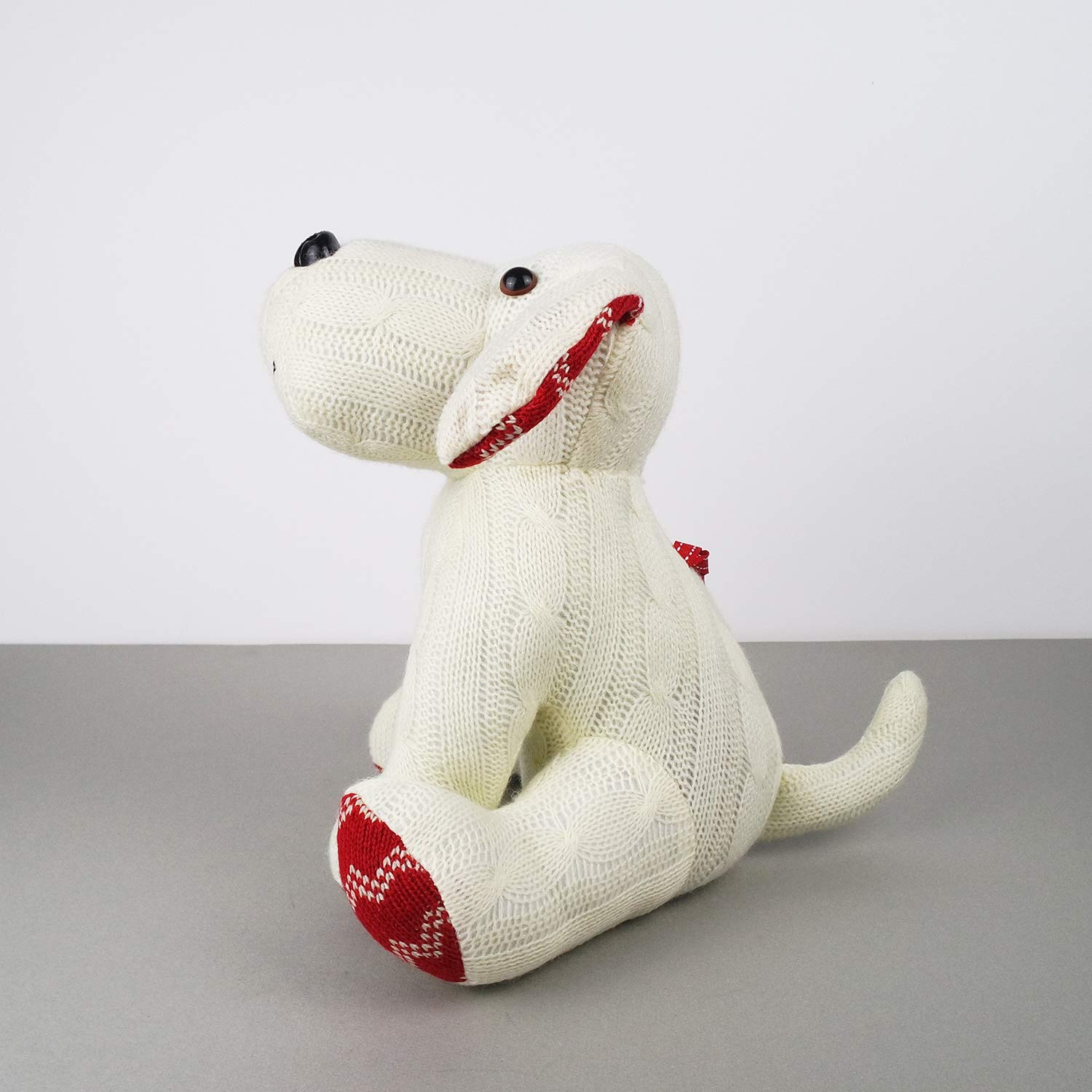 Stuffed Animal White Dog Door Stopper 1.73lb Home Decor Cable Knit Pattern by dwelling (Image #5)