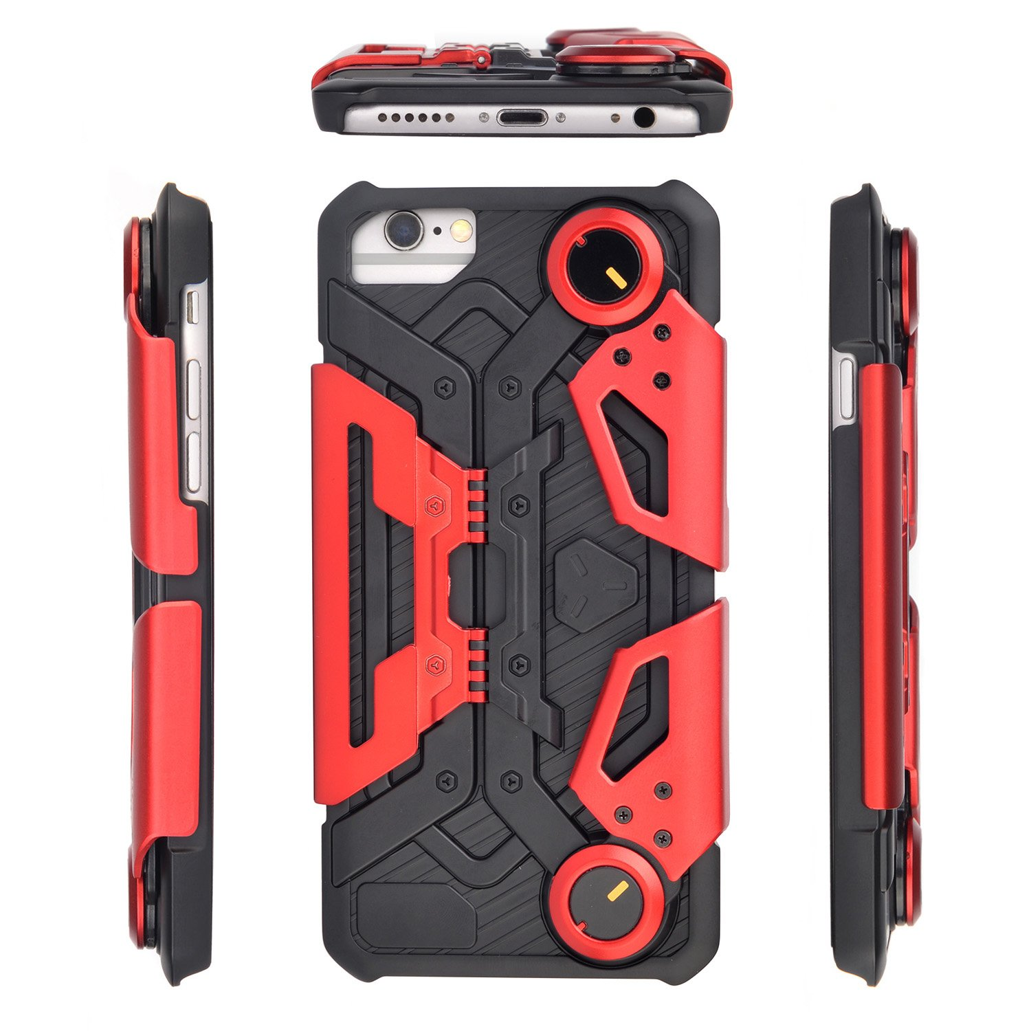 iPhone 7 Plus, iPhone 8 Plus Case with Kickstand for Gaming - Hcman Shock Proof Protective Case, Phone holder with Foldable Joystick Case for iPhone 6 Plus / 6s Plus Red