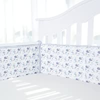 TILLYOU 4-PIECE Baby Breathable Crib Bumper Pads for Standard Cribs Machine Washable Padded Crib Liner 100% Premium Cotton, Ultra Soft Crib Padding for Rails, Whale Fish Gray