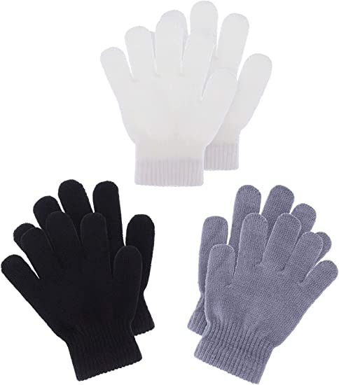 1-4 Years Size Boao 6 Pairs Kids Gloves Full Finger Mittens Winter Knitted Gloves for Little Boys and Girls Supplies