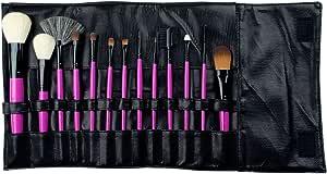 Royal & Langnickel - Set de 13 brochas con cerdas hechas de pelo natural y estuche enrollable sintético, de color rosa: Amazon.es: Belleza