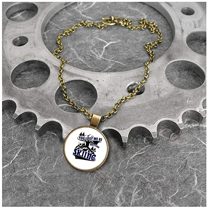 2b7f9fb64164 OMANECK I Love Skiing Necklace Antique Brass, My Favorite Sport Necklaces ( Necklace - Antique Brass - White) | Amazon.com