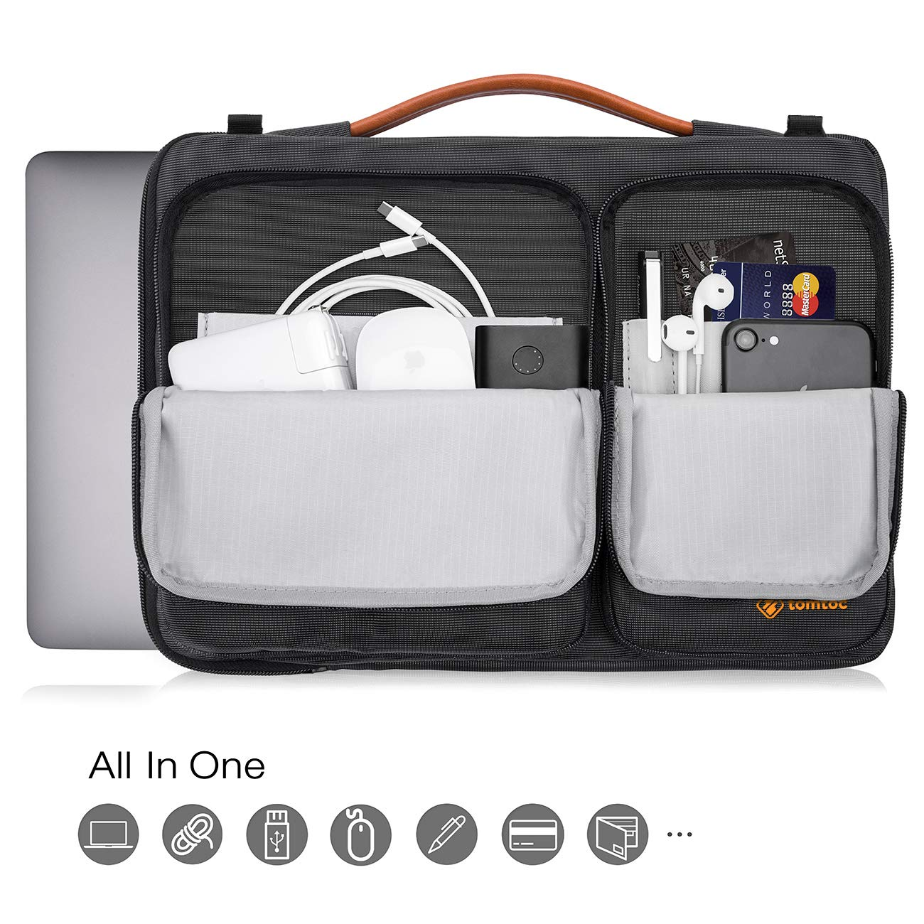 """Dell XPS 15 tomtoc 15 Inch Laptop Shoulder Bag with CornerArmor Patent Accessory Pocket Microsoft Surface Book 2 360/° Protective Sleeve Fit for 15/"""" Old MacBook Pro Retina Fit up to 14.13 x 9.87"""