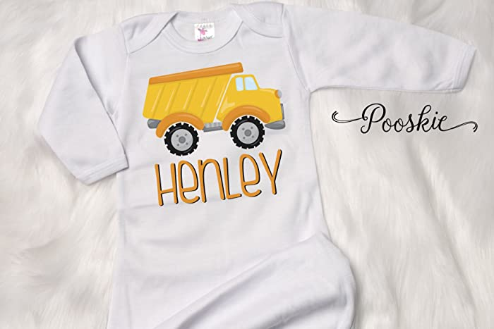 Amazon.com: Baby Boy Gown, Construction Baby Gown, Personalized ...