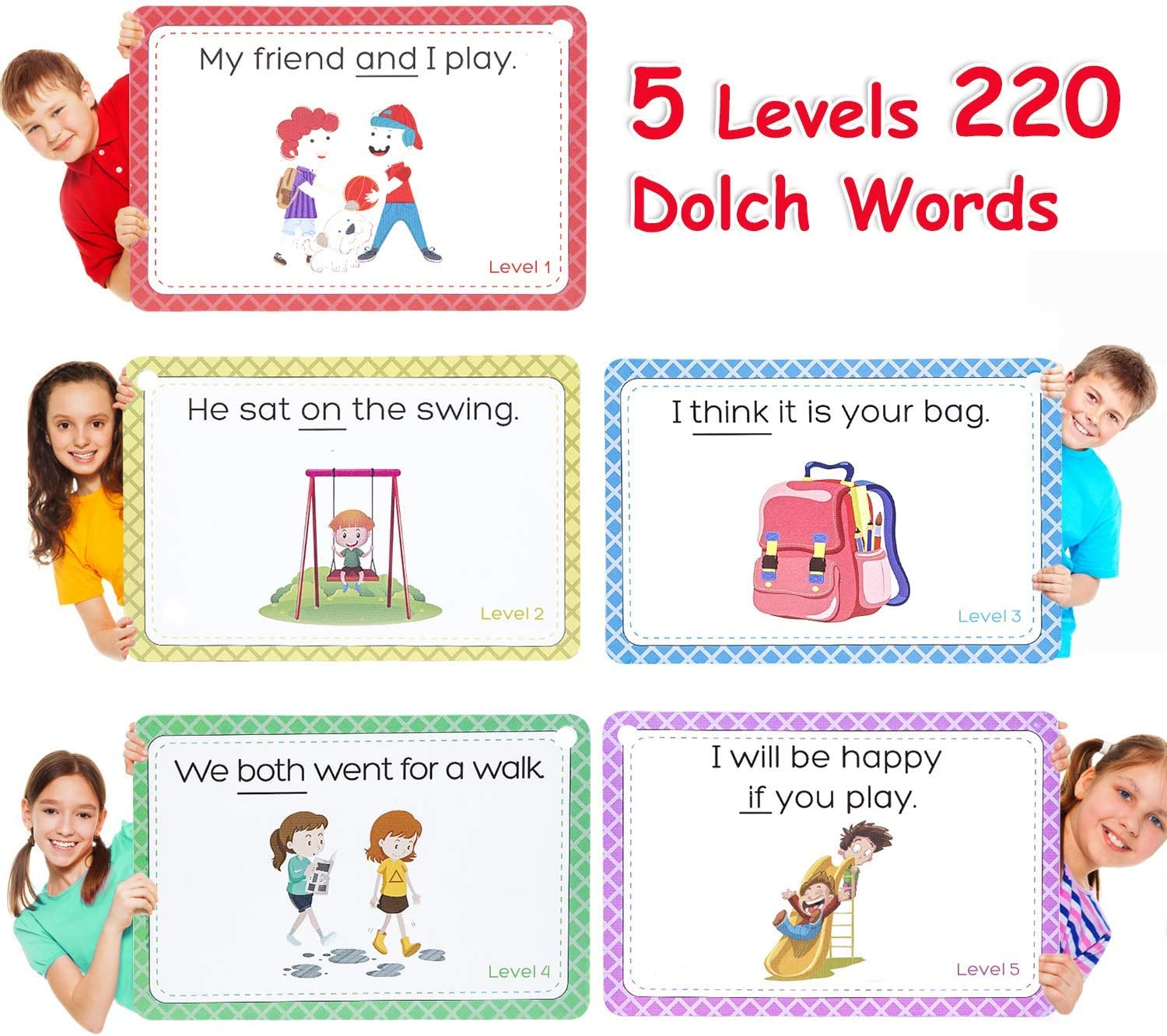 220 Dolch Big Word Gamenote Sight Words Flash Cards with Pictures /& Sentences