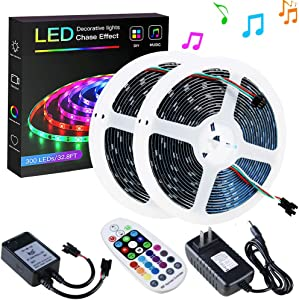 SPARKE Dreamcolor Led Strip Lights, 32.8ft/10m Dynamic Music-Sync LED Tape Light, 300 Pixels RGB 5050 WS2811B Waterproof Strip with RF Remote and Power Supply, Chasing Effect for Home Interior Parties