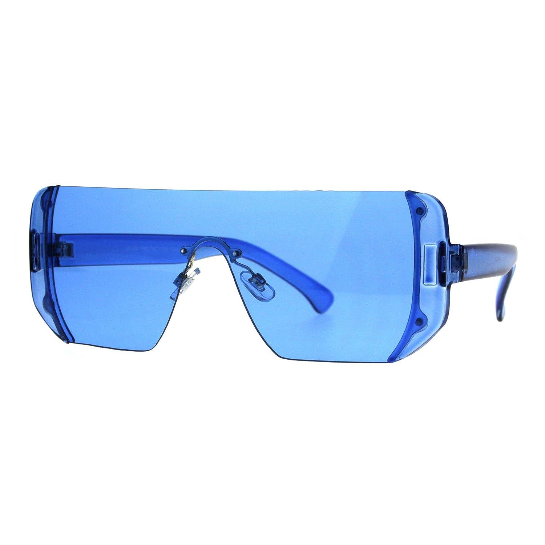 4605732fcc Amazon.com  Rectangular Pop Color Shield 80s Robotic Disco Sunglasses Blue   Clothing