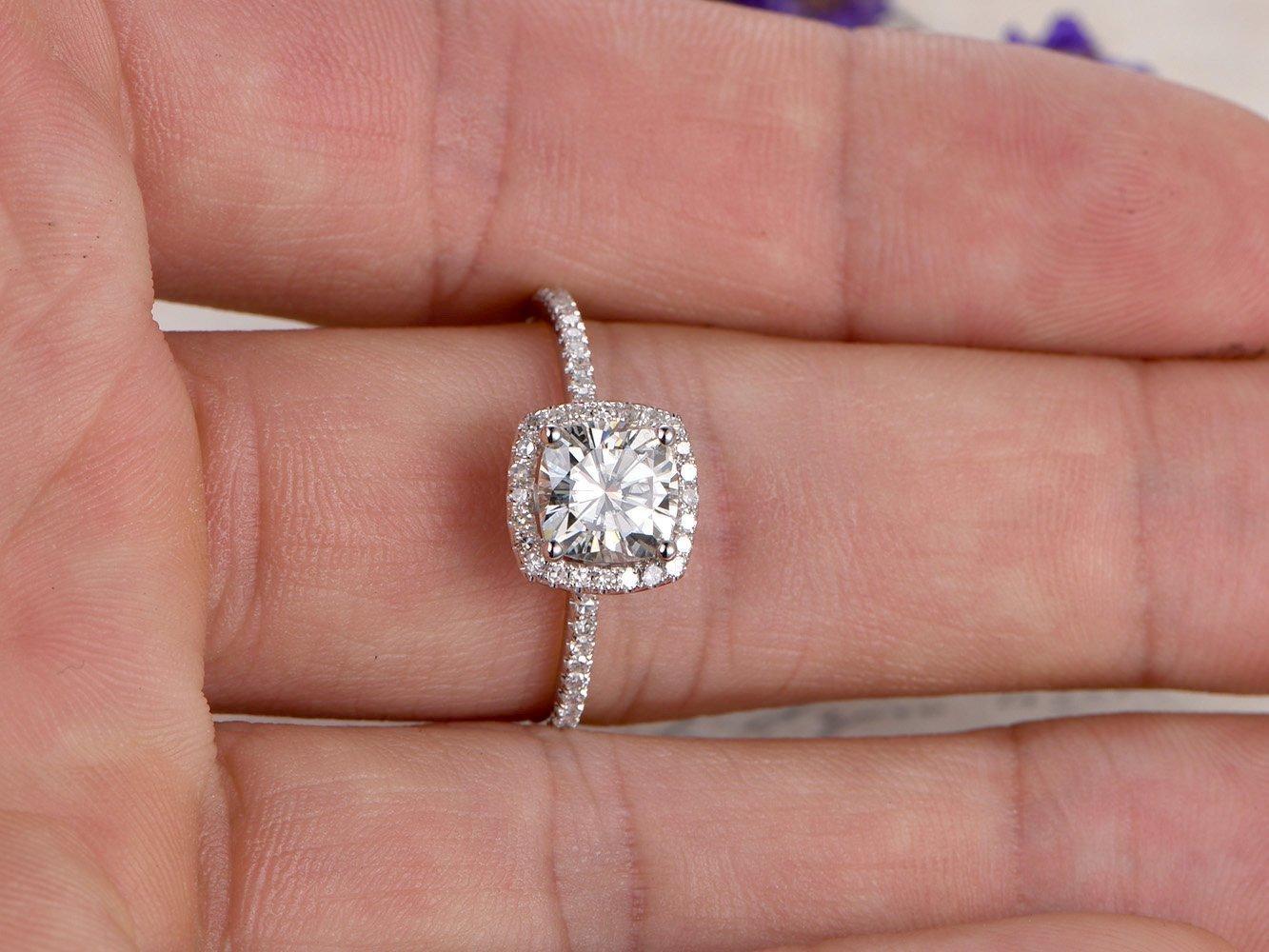 Amazon.com: Moissanite Engagement Ring Cushion Cut 7mm Gemstone SI ...