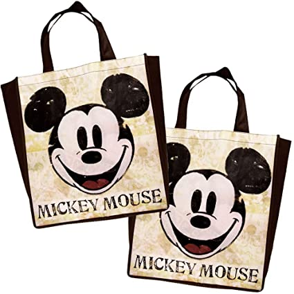 d564daa140 Amazon.com  Disney Vintage Mickey Mouse Tote Bag Reusable Grocery Bags  Large Size Non Woven Bag (Set of 2) (Color Vintage)  Clothing