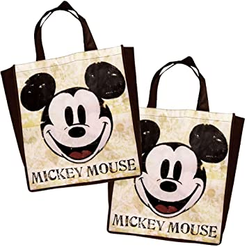 Disney Vintage Mickey Mouse Tote Bag Reusable Grocery Bags Large Size Non Woven Bag (Set of 2) (Color Vintage)